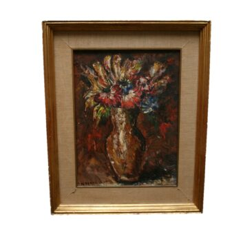 A Still Life of Flowers in a Vase, Oil on Canvas