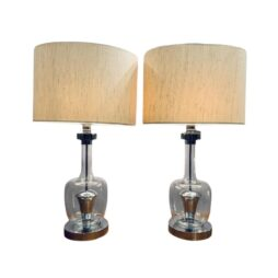 PAIR OF 1970S SPACE AGE GLASS AND CHROME TABLE LAMPS