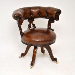 Antique William IV Leather & Mahogany Desk Chair
