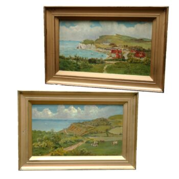 Pair 19th Century Oil on Canvas The White Cliffs Of Dover