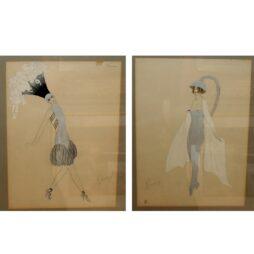 Pair of  Futuristic Fashion Designs signed in pencil Ranson
