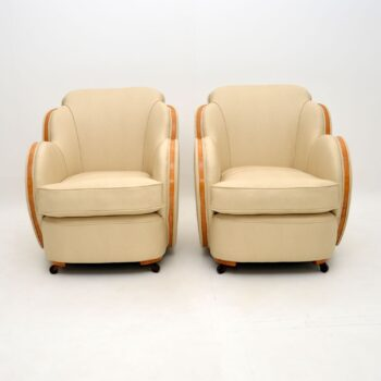 Pair Art Deco Burr Maple Cloud Back Armchairs by Epstein