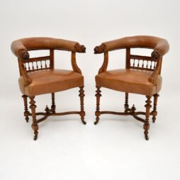 Pair of Antique Leather & Carved Oak Armchairs