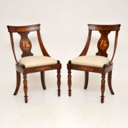 Pair of Antique Inlaid Mahogany Neo Classical Side Chairs