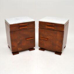 Art Deco Satin Birch Marble Top Bedside Side Cabinets