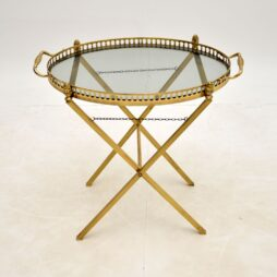 French Brass Folding Side Table