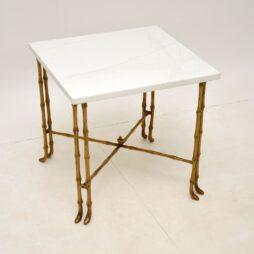 Faux Bamboo Brass & White Quartz Side Table