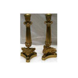 19th Century French Gilt Bronze Candle Sticks